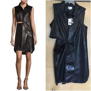 Milly Lightweight Leather Cutout Shirtdress BLACK